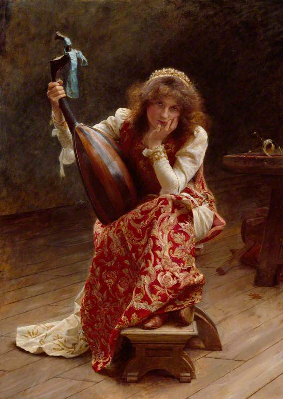Edward John Gregory, pictor englez (1850–1909)~ Girl with lute