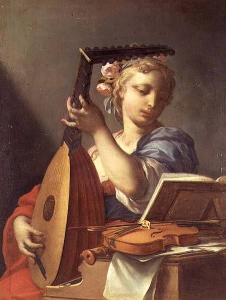 Francesco Trevisani, pictor italian(1656–1746)~ A Young Woman Playing a Lute