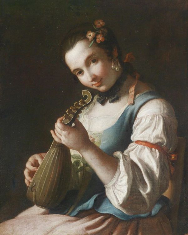 Pietro Antonio Rotari, pictor italian (1707-1762) ~ A young woman playing a lute